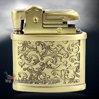 Vintage Beauty Wealth Flower Carved Pattern Classic Petrol Kerosene Cigarette Cigar Oil Lighter
