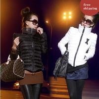 Shipping New 2015 Zipper No Broadcloth Hot Sale Ladies Fashion Coat Winter Jacke Women Thickening Jackets Parka Overcoat Tops
