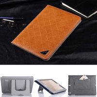 Rhombus Plaid Ultrathin Handheld Card Genuine Leather Case for iPad Mini iPad Mini2 Folding Stand Cover Case for iPad Mini Mini2