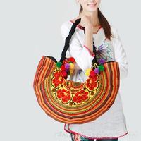 National Ethnic Embroidered Bags Thailand Pompon Dumplings-shaped Cloth Embroidery Shoulder Bag Women's Big Handbag