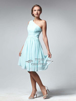 Pretty Royal Blue 2014 Bridesmaid Dress A-Line Tea Length Empire One-shoulder With Side Zipper Pleated  Dreeses