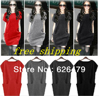 New arrival 2015 Women Batwing Sleeve Items Saia Sophisticated PlusSize Pullover Casual Brand Sweater Dress Clothing HighQuality