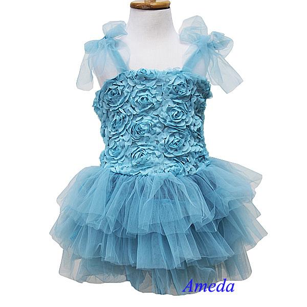 Wholesale Lot of 5 pc - Teal Blue Rosettes Rose Tutu Party Dress Wedding Flower Girl Pettiskirt 1-7(Hong Kong)