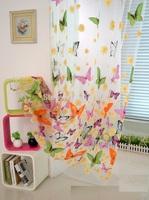 new arrival customized screening butterfly design sheer door window screening drape hook style organza day curtain tulle