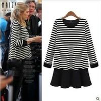 2015 New Brand Girl Long Sleeve O-Neck Striped Mini Pleated Tassel Plus Size Dress Fashion Brief Women dresses Clothing Set