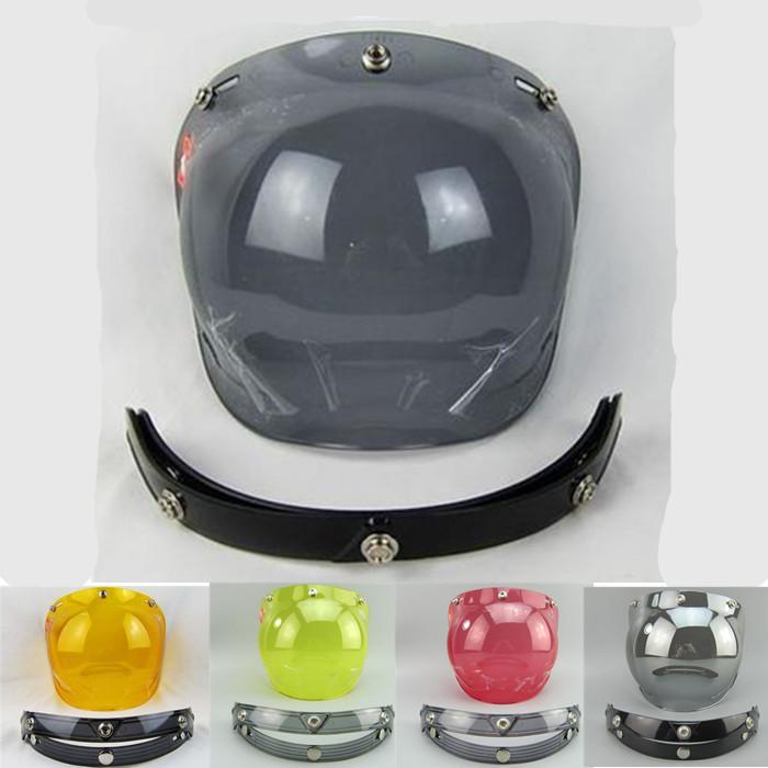 free shipping 3/4 open face vintage helmet shield visor lens scooter helmet visor silver black transparent red color(China (Mainland))