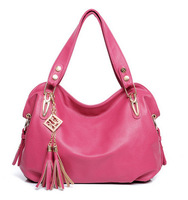 2014 Free Shipping Women Shoulder Bag American Style Tassel Brand Women's Leather Handbag Bolsa Cmyka morer#608