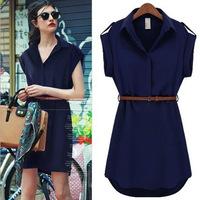 2014 European Women's European and American big big yards short sleeve dress shirt loose chiffon dress Slim