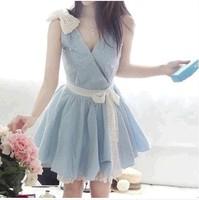 2014 women's sweet V-neck plus size lace pearl bow ribbon slim denim dresses light blue S~XXL ,free shipping