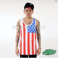 new 2014 tops & tees tank tops men boys shirts sports clothing hip hop American flag Tai Ji mask dollar money 100% cotton best