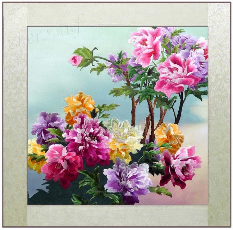 Free shipping - China's national style products suzhou embroidery Beautiful Peony soft finished products(China (Mainland))