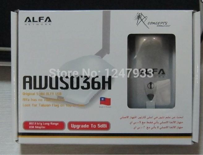 Free shipping High power ALFA AWUS036H 1000mw wifi usb adapter adaptador wireless usb 5db antenna Realtek8187L Chipset x5(China (Mainland))