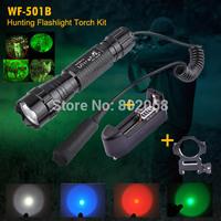 Free Shipping UltraFire WF-501B CREE Green /Red/Blue Q5 Hunting Flashlight Tactical Led Flashlight