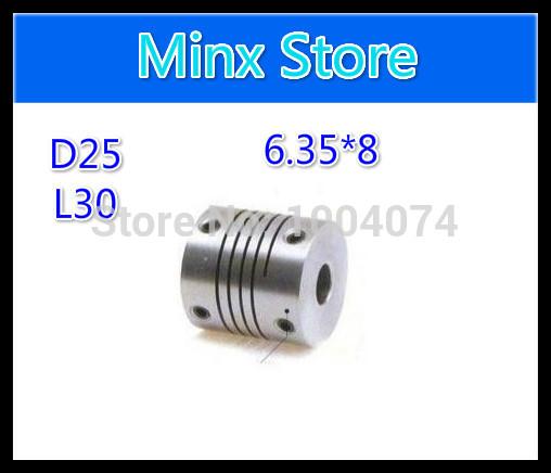 flexible Shaft Coupler 6.35mm x8mm Flexible Coupling Stepper Motor Coupler D25 L30(China (Mainland))