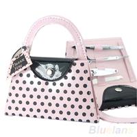 Hot Sale Pink Polka Dot Purse Make Up Manicure Tool Kit Set Women Lady Bridesmaid Christmas Gifts  05NM