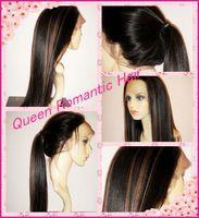 Stock Freeshipping #1b-30 high lights Silk light yaki Striaght Mongolian virgin human hair full lace wig glueless/front lace wig