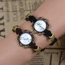 1Pair Couple bracelet Vintage glass bracelet Dailing Honey Eiffel Tower Elephant Clock Star Beads Bronze Suede
