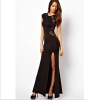 2014 hot sale new summer dress Slim thin slit dress sexy hollow lace dress nightclub behind Eli Women