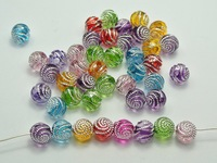 wholesale 400pcs/lot  8mm colorful silver  round rose Acrylic Beads findings