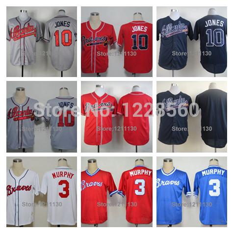 2014 Cheap Sale Atlanta Braves Jersey Shirt Baseball Blank #3 Dale Murphy #10 Chipper Jones Jerseys Red White Black Beige Blue(China (Mainland))