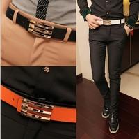Free Shipping,Men's Belt ,Fashion Faux Leather Premium S Shape Metal Mens strap man Ceinture Buckle Belt men's belt