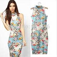 2014 New sexy elegant slim knee-length flower printed package cheongsam vest dresses free shipping best selling