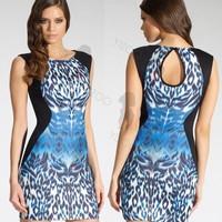 Womens Celeb Styles Kim Kardashian Leopard Dress Party Bodycon Dress