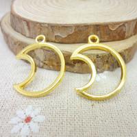 85 pcs Charms Moon Pendant  Gold color  Zinc Alloy Fit Bracelet Necklace DIY Metal Jewelry Findings