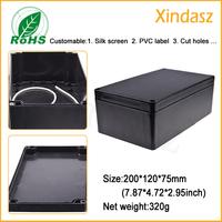 (5pcs/Lot)200*120*75mm 7.87*4.72*2.95inch Black plastic electrical enclosures Waterproof Plastic Project Box Enclosure
