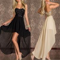 2014 Summer Fashion 1pc NEW Sexy Prom Women Ladies Sequin Strapless Evening Night Club Party Asymmetrical Dress