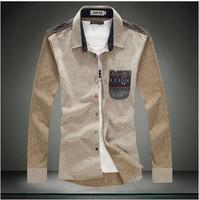 Men Dress Shirts Fashion 2014 Elegant Trend Casual Pocket Decoration Plus-size Clothing Free shipping