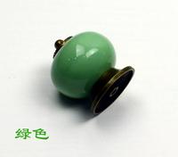 10pcs/lot Green Knobs Ceramic Door Drawer Cupboard Pull Handles