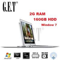 Cheap New arrival 14 inch notebook computer Ultrabook laptop PC Intel Atom N2600/N2807  dual core 2G DDR3 160G HDD Webcam