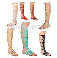 2014 New Fashion Women Beautiful Flat Carving Gladiator Boots Free Shipping