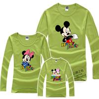 Free Shipping New Arrival Children Long Sleeve T-Shirts Cartoon Family Clothing 100% Cotton Family Dress Alikes
