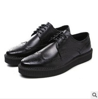 Free Shipping 2014 mens genuine leather shoes casual Business shoes Mens Brand Lace-up shoes man Flats A1069