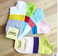 Free shipping 20pairs / lot 2014 new design fashion Summer Spell color tide socks lady boat socks wholesale
