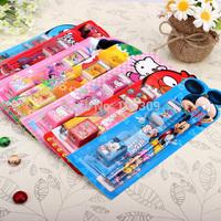 5 in 1 set, Creative Kids stationary sets,pencil+eraser+pencil sharpener+ruler, Stationery combination,Lovely stationery