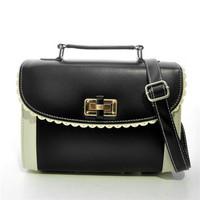 Free Shipping (black )  High quality  Contrast Colour   Candy  handbag  messenger bag