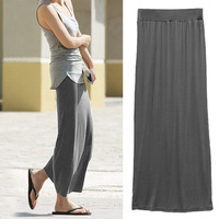 High Waist Full Length Maxi Skirt Long Casual Pleated Skirt for Women- Grey