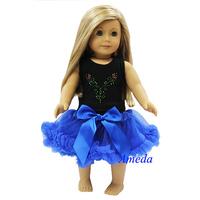 "18"" American Girl Doll Black Tank Top Blue Pettiskirt Anna Costume Party Dress"