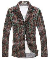 Trend Men Shirt 2014 Fashion Spring Autumn Casual Printing Long sleeve Clothing Plus-size Free shipping