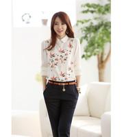 summer cute sweet fashion ol peter pan collar long sleeve single-breasted white chiffon women shirt blouse flower printed