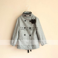 2014 New Girls Jackets Grey Kids Outwear Fashion Children Coats Girls Winter Clothes Free Shipping