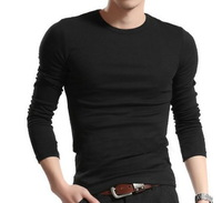 Free Shipping Fashion Men's Casual Slim Fit t-shirts Elastic Long Sleeve t shirts O Neck Tops Tees,basic t shirt for men