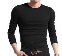 Free Shipping Fashion Men's Casual Slim Fit t-shirts Elastic Long Sleeve t shirts O Neck Tops Tees,basic t shirt for men