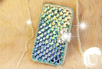 Bling Colorful Diamond Bookcase for Samsung Galaxy Note n7100 Ombre Rhinestone Stand Card Cover 4 colors Handmade free shipping