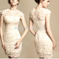 Free shipping 2014 fashion Elegant wedding dresses, women's Senior party dresses, Bride Lace flowers dress XS-XXXL