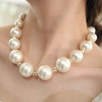 Elegant and luxurious big pearl interval water Crystal ball collarbone short necklace