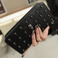 2014 high quality vintage punk skull wallet long design women's wallet mobile phone women's handbag